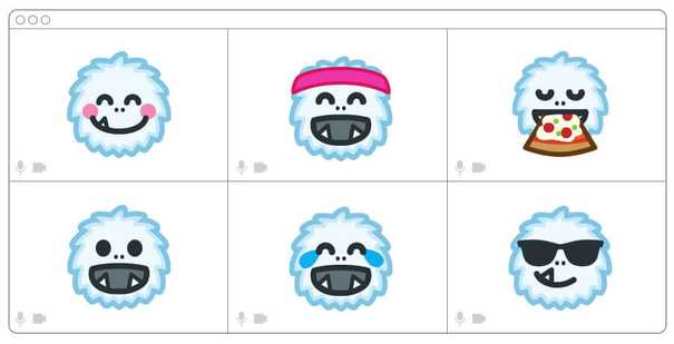 Illustration of yeti faces in a video call.
