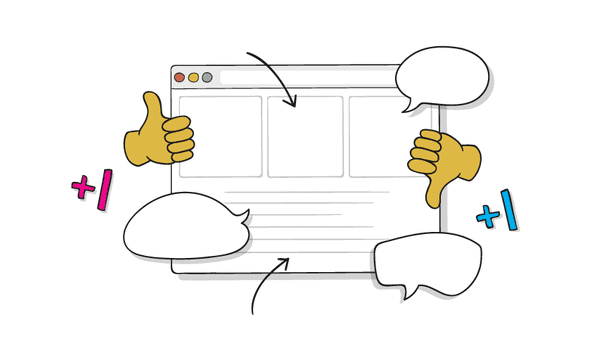 A shared document with conversation bubbles, thumbs up, and thumbs down.