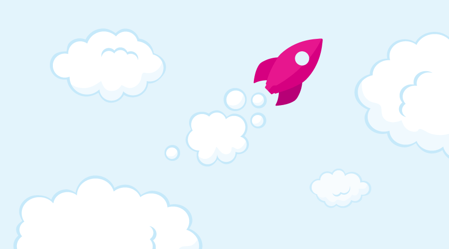A Talky rocket flying amongst the clouds