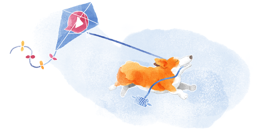 A corgi running with a kite with the Talky logo